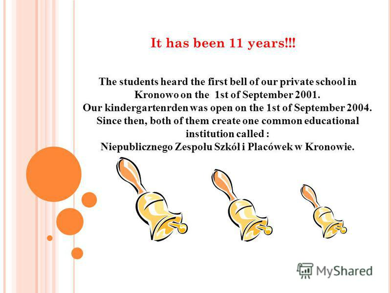 The students heard the first bell of our private school in Kronowo on the 1st of September 2001. Our kindergartenrden was open on the 1st of September 2004. Since then, both of them create one common educational institution called : Niepublicznego Ze