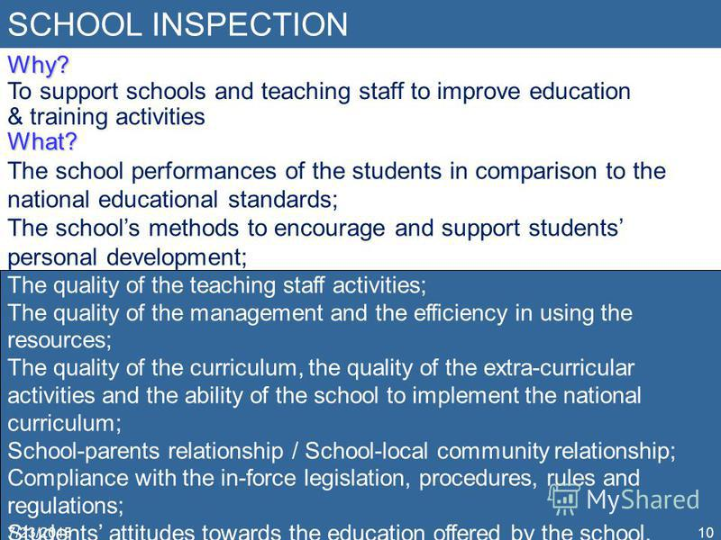 SCHOOL INSPECTION 7/23/201510 Why? To support schools and teaching staff to improve education & training activities What? The school performances of the students in comparison to the national educational standards; The schools methods to encourage an