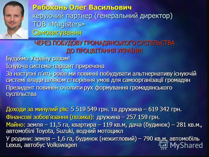 Рябоконь Олег Васильович керуючий партнер (генеральний директор) ТОВ «Magisters» Самовисування ЧЕРЕЗ ПОБУДОВУ ГРОМАДЯНСЬКОГО СУСПІЛЬСТВА ДО ПРОЦВІТАННЯ УКРАЇНИ! Будуймо Україну разом! Існуюча система-паразит приречена За наступні пять років ми повинн