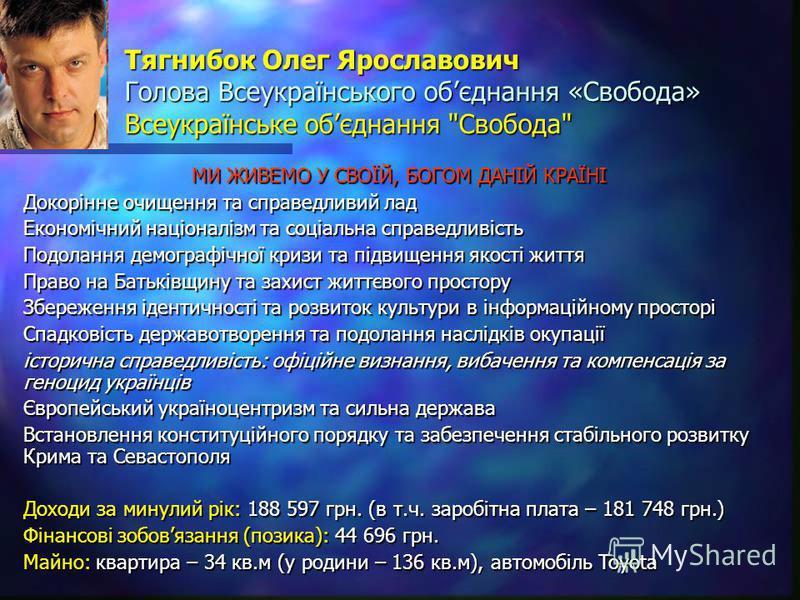 Тягнибок Олег Ярославович Голова Всеукраїнського обєднання «Свобода» Всеукраїнське обєднання