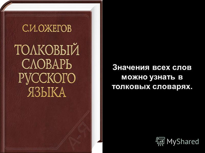 Значения всех слов можно узнать в толковых словарях.