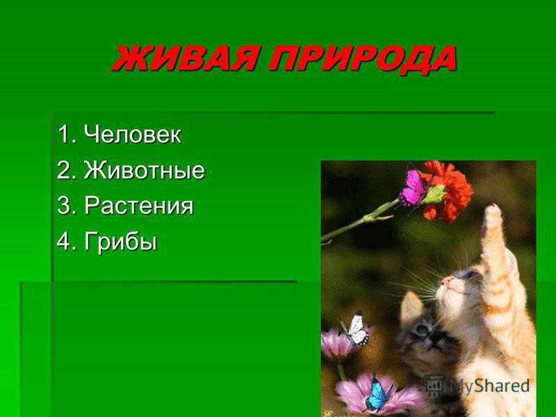 ЖИВАЯ ПРИРОДА 1. Человек 2. Животные 3. Растения 4. Грибы