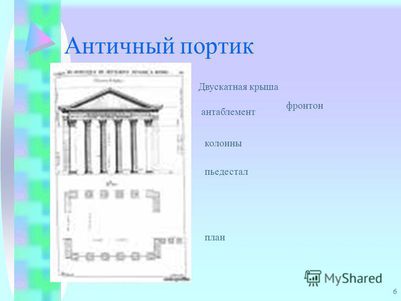 Античный портик 6 Двускатная крыша антаблемент колонны пьедестал фронтон план