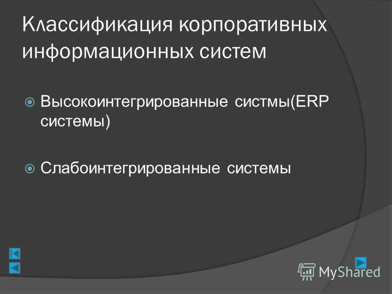 Классификация корпоративных информационных систем Высокоинтегрированные системы(ERP системы) Слабоинтегрированные системы
