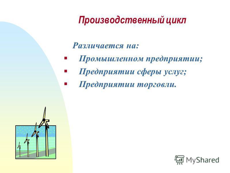 Производственный цикл Различается на: Промышленном предприятии; Предприятии сферы услуг; Предприятии торговли.