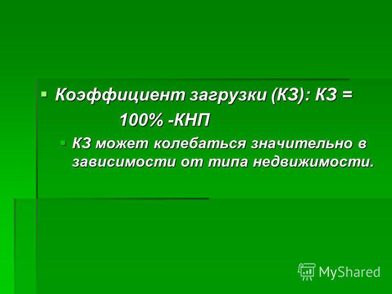 Коэффициент загрузки (КЗ): КЗ = Коэффициент загрузки (КЗ): КЗ = 100% -КНП КЗ может колебаться значительно в зависимости от типа недвижимости. КЗ может колебаться значительно в зависимости от типа недвижимости.