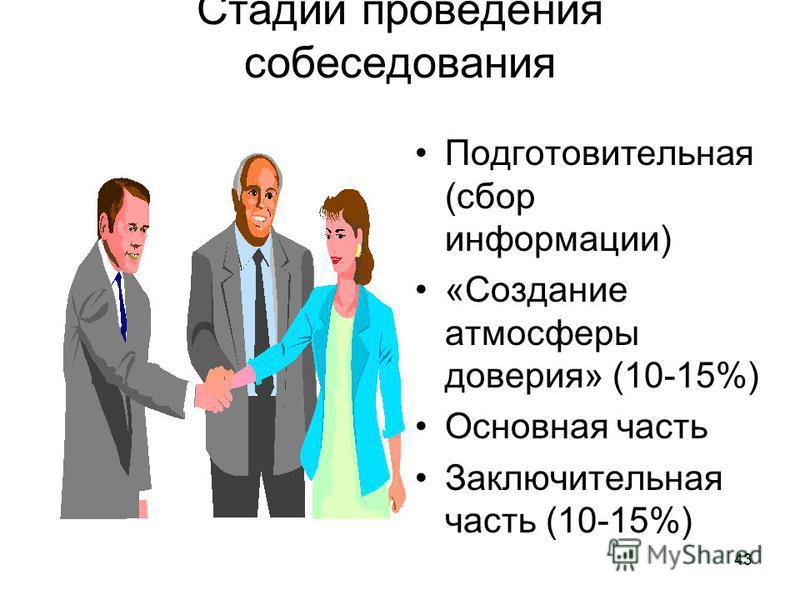 43 Стадии проведения собеседования Подготовительная (сбор информации) «Создание атмосферы доверия» (10-15%) Основная часть Заключительная часть (10-15%)