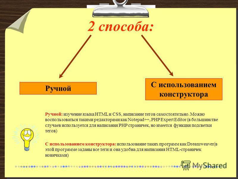 2 способа: Ручной С использованием конструктора Ручной: изучение языка HTML и CSS, написание тегов самостоятельно. Можно воспользоваться такими редакторами как Notepad++, PHP Expert Editor (в большинстве случаев используется для написания PHP странич
