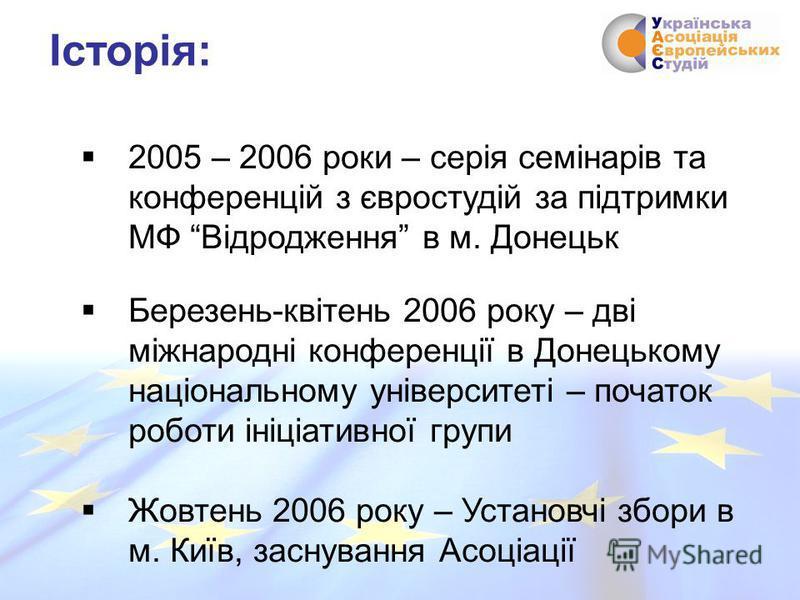 2005 – 2006 роки – серія семінарів та конференцій з євростудій за підтримки МФ Відродження в м. Донецьк Березень-квітень 2006 року – дві міжнародні конференції в Донецькому національному університеті – початок роботи ініціативної групи Жовтень 2006 р