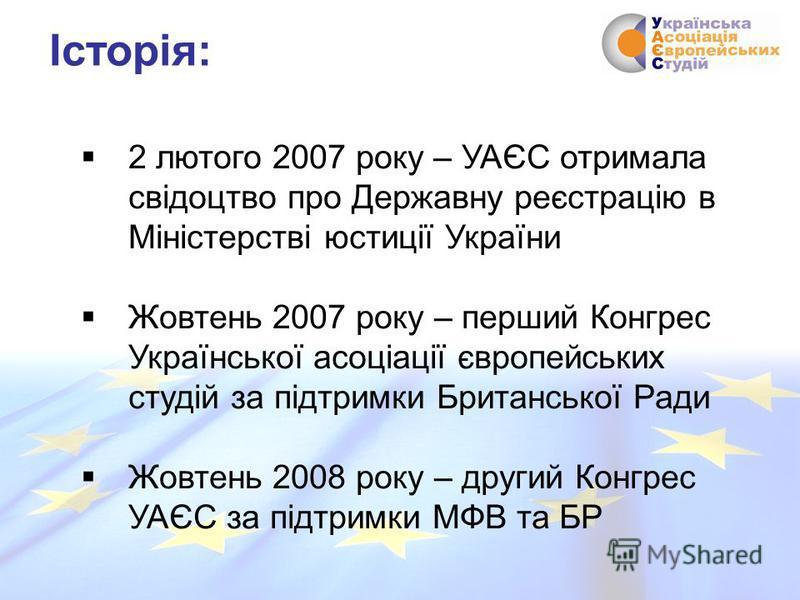 2 лютого 2007 року – УАЄС отримала свідоцтво про Державну реєстрацію в Міністерстві юстиції України Жовтень 2007 року – перший Конгрес Української асоціації європейських студій за підтримки Британської Ради Жовтень 2008 року – другий Конгрес УАЄС за