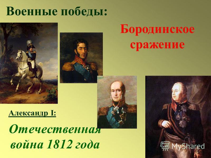 Военные победы: Александр I: Отечественная война 1812 года Бородинское сражение