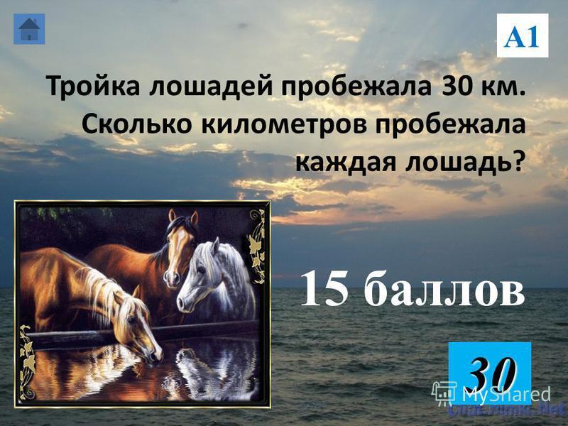 Тройка лошадей пробежала 30 км. Сколько километров пробежала каждая лошадь? 15 баллов 30 А1