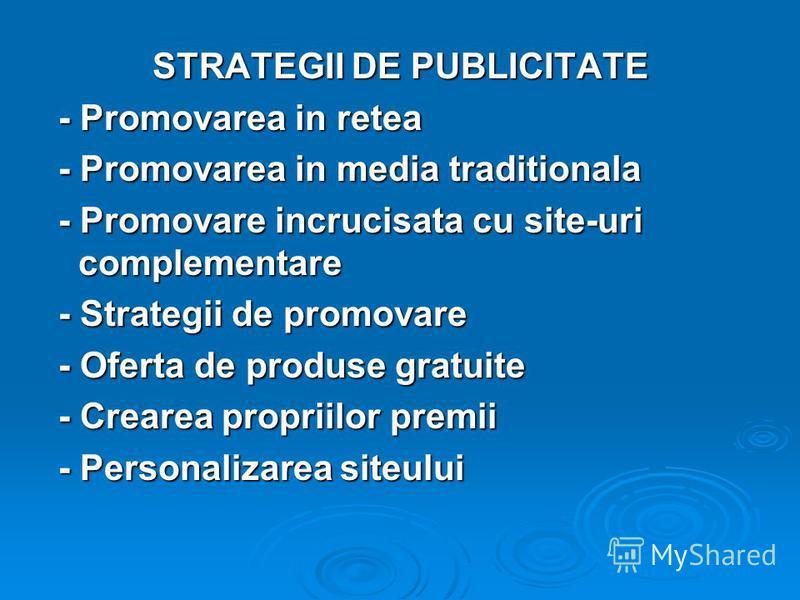 STRATEGII DE PUBLICITATE - Promovarea in retea - Promovarea in retea - Promovarea in media traditionala - Promovarea in media traditionala - Promovare incrucisata cu site-uri complementare - Promovare incrucisata cu site-uri complementare - Strategii
