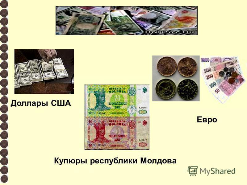 Доллары США Евро Купюры республики Молдова