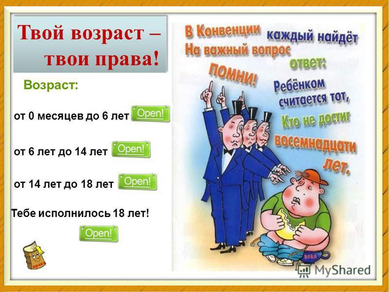 права Твой возраст – твои права! Твой возраст – твои права! Возраст: от 0 месяцев до 6 лет от 6 лет до 14 лет от 14 лет до 18 лет Тебе исполнилось 18 лет!