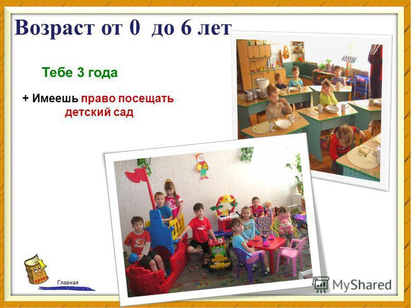 права Тебе 3 года + Имеешь право посещать детский сад Возраст от 0 до 6 лет