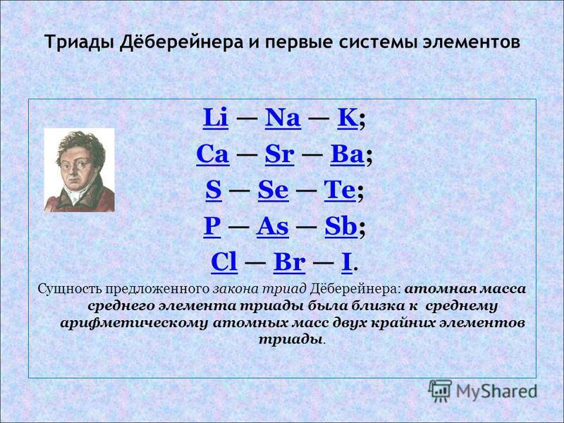 Триады Дёберейнера и первые системы элементов Li Na K;LiNaK Ca Sr Ba;CaSrBa S Se Te;SSeTe P As Sb;PAsSb Cl Br I.ClBrI Сущность предложенного закона триад Дёберейнера: атомная масса среднего элемента триады была близка к среднему арифметическому атомн