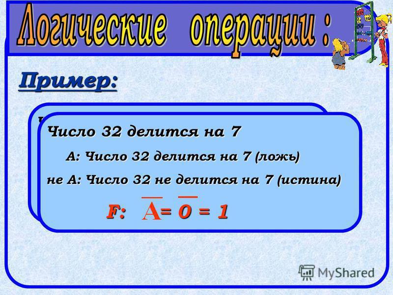 Пример: Число 32 делится на 2 А: Число 32 делится на 2 (истина) не А: Число 32 не делится на 2 (ложь) F: = 1 = 0 Число 32 делится на 7 А: Число 32 делится на 7 (ложь) не А: Число 32 не делится на 7 (истина) F: = 0 = 1