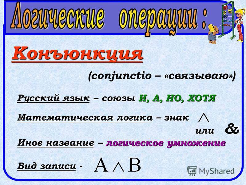 Конъюнкция (conjunctio – «связываю») Русский язык – союзы И, А, НО, ХОТЯ Математическая логика – знак или & Иное название – логическое умножение Вид записи -