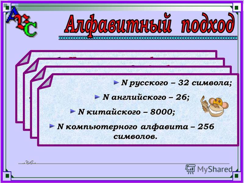 1. Количество информации в сообщении не зависит от содержания, а зависит от объема текста (числа знаков в тексте) и от мощности алфавита. 2. Алфавит – это совокупность букв, цифр, знаков препинания и специальных символов. 3. Мощность алфавита (N) – п