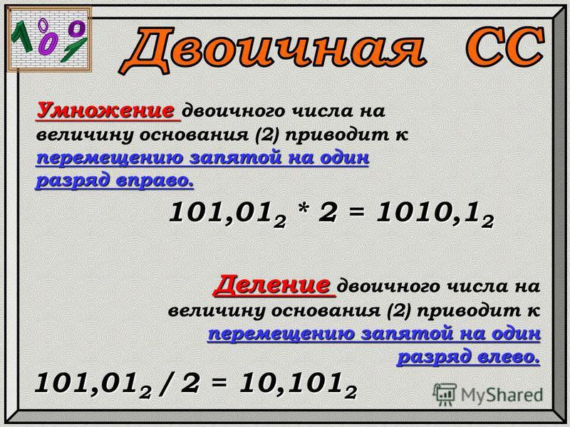 Умножение перемещению запятой на один разряд вправо. Умножение двоичного числа на величину основания (2) приводит к перемещению запятой на один разряд вправо. 101,01 2 * 2 = 1010,1 2 Деление перемещению запятой на один разряд влево. Деление двоичного