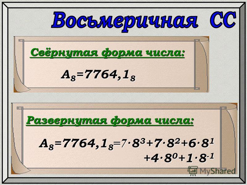 Свёрнутая форма числа: Развернутая форма числа: А 8 =7764,1 8 А 8 =7764,1 8 =7 ·8 3 +7·8 2 +6·8 1 +4·8 0 +1·8 -1