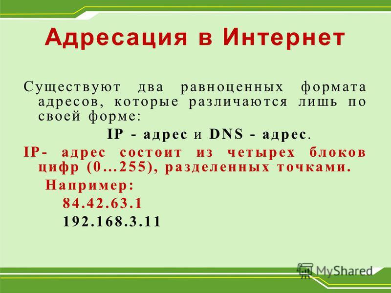 Адресация в Интернет Существуют два равноценных формата адресов, которые различаются лишь по своей форме: IP - адрес и DNS - адрес. IP- адрес состоит из четырех блоков цифр (0…255), разделенных точками. Например: 84.42.63.1 192.168.3.11