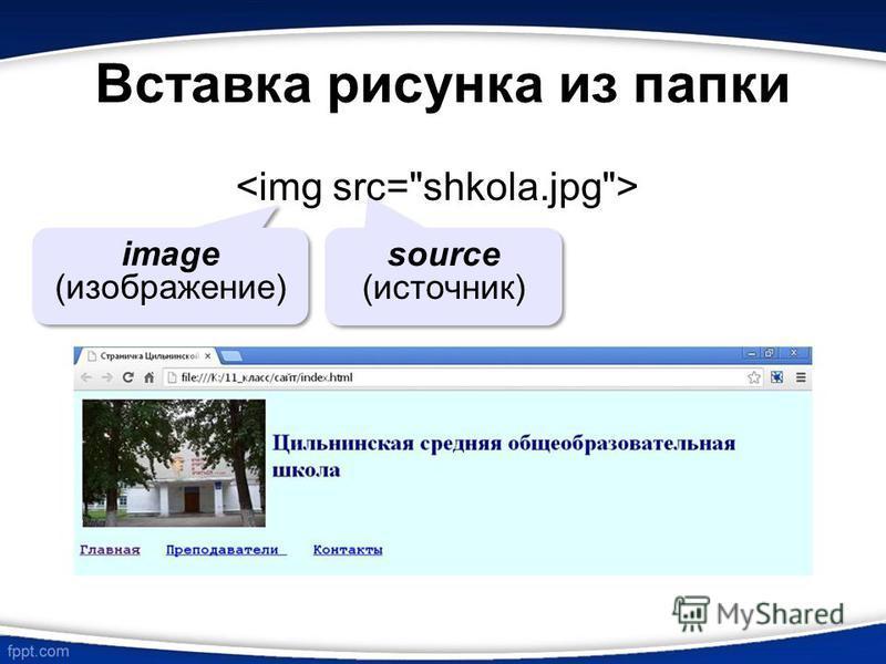 Вставка рисунка из папки image (изображение) source (источник)