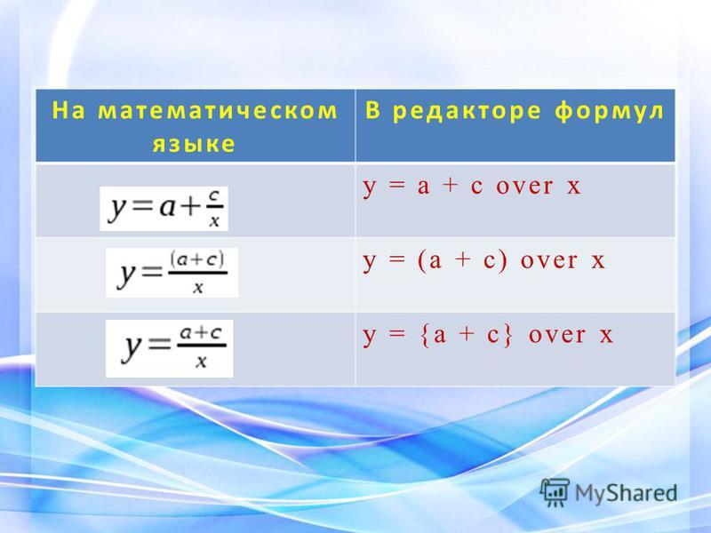 На математическом языке В редакторе формул y = a + с over x y = (a + с) over x y = {a + с} over x