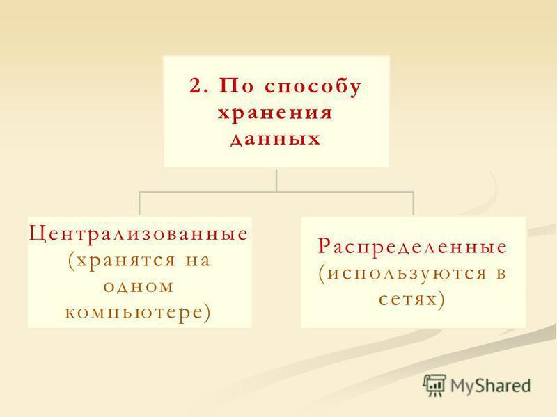 2. По способу хранения данных Централизованные (хранятся на одном компьютере) Распределенные (используются в сетях)