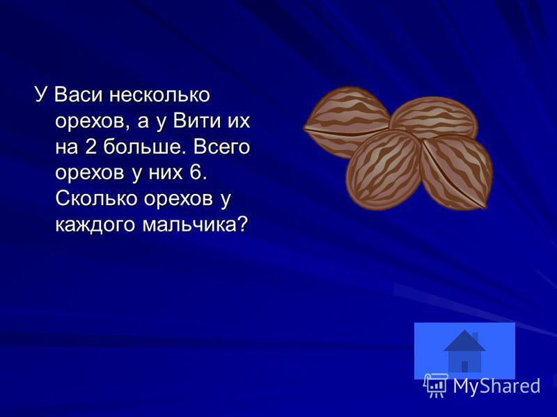 У Васи несколько орехов, а у Вити их на 2 больше. Всего орехов у них 6. Сколько орехов у каждого мальчика?