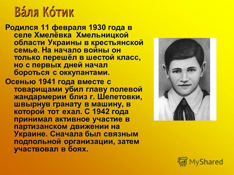 Родился 11 февраля 1930 года в селе Хмелёвка Хмельницкой области Украины в крестьянской семье. На начало войны он только перешёл в шестой класс, но с первых дней начал бороться с оккупантами. Осенью 1941 года вместе с товарищами убил главу полевой жа
