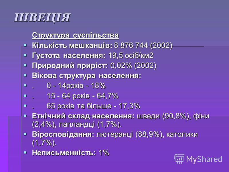 ШВЕЦІЯ Структура суспільства Кількість мешканців: 8 876 744 (2002) Кількість мешканців: 8 876 744 (2002) Густота населення: 19,5 осіб/км2 Густота населення: 19,5 осіб/км2 Природний приріст: 0,02% (2002) Природний приріст: 0,02% (2002) Вікова структур