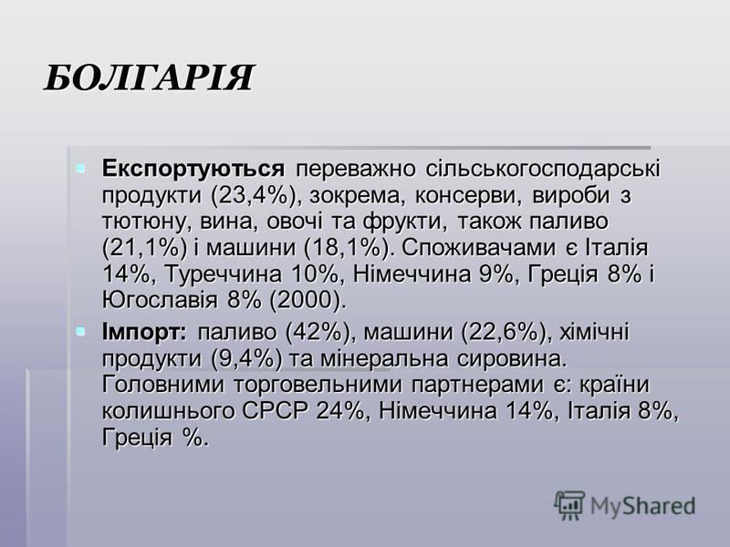 БОЛГАРІЯ Експортуються переважно сільськогосподарські продукти (23,4%), зокрема, консерви, вироби з тютюну, вина, овочі та фрукти, також паливо (21,1%) і машини (18,1%). Споживачами є Італія 14%, Туреччина 10%, Німеччина 9%, Греція 8% і Югославія 8%