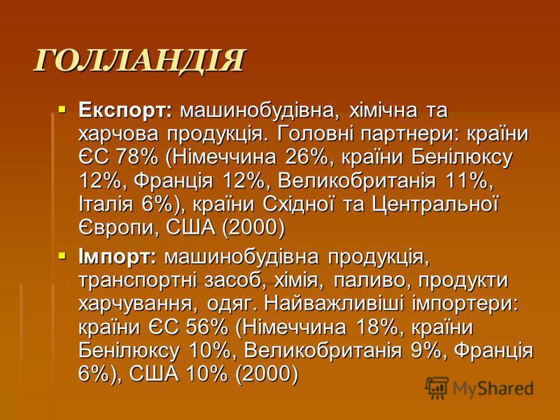 ГОЛЛАНДІЯ Експорт: машинобудівна, хімічна та харчова продукція. Головні партнери: країни ЄС 78% (Німеччина 26%, країни Бенілюксу 12%, Франція 12%, Великобританія 11%, Італія 6%), країни Східної та Центральної Європи, США (2000) Експорт: машинобудівна
