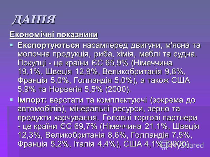 ДАНІЯ Економічні показники Експортуються насамперед двигуни, м'ясна та молочна продукція, риба, хімія, меблі та судна. Покупці - це країни ЄС 65,9% (Німеччина 19,1%, Швеція 12,9%, Великобританія 9,8%, Франція 5,0%, Голландія 5,0%), а також США 5,9% т
