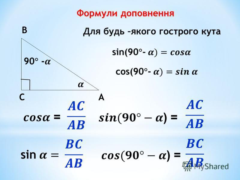 Формули доповнення А В С