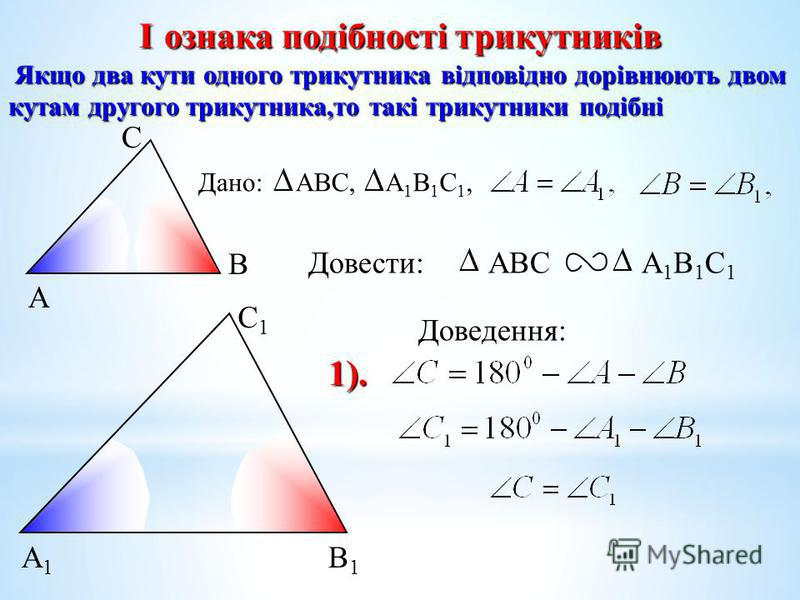 А С В В1В1 С1С1 А1А1 I ознака подібності трикутників Якщо два кути одного трикутника відповідно дорівнюють двом кутам другого трикутника,то такі трикутники подібні Якщо два кути одного трикутника відповідно дорівнюють двом кутам другого трикутника,то