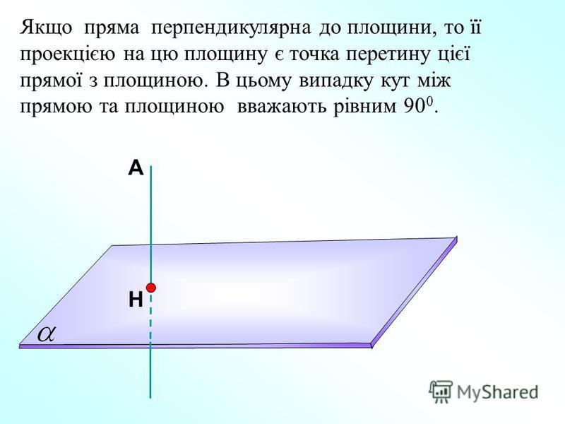 А Н Якщо пряма перпендикулярна до площини, то її проекцією на цю площину є точка перетину цієї прямої з площиною. В цьому випадку кут між прямою та площиною вважають рівним 90 0.
