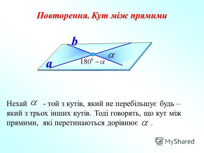 Повторення. Кут між прямими a b Нехай - той з кутів, який не перебільшує будь – який з трьох інших кутів. Тоді говорять, що кут між прямими, які перетинаються дорівнює.