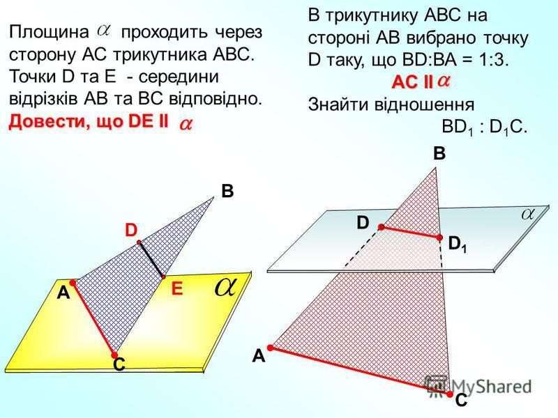 A В С D E Площина проходить через сторону АС трикутника АВС. Точки D та E - середини відрізків АВ та BC відповідно. Довести, що DE II В трикутнику АВС на стороні АВ вибрано точку D таку, що ВD:ВА = 1:3. Знайти відношення ВD 1 : D 1 C. A C B D D1D1 AC