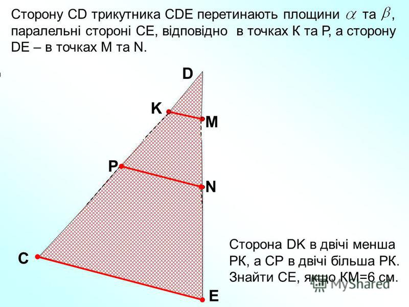 Сторону СD трикутника СDE перетинають площини та, паралельні стороні СЕ, відповідно в точках К та Р, а сторону DE – в точках М та N. С Е D K M P N Сторона DK в двічі менша РК, а СР в двічі більша РК. Знайти СЕ, якщо КМ=6 см.