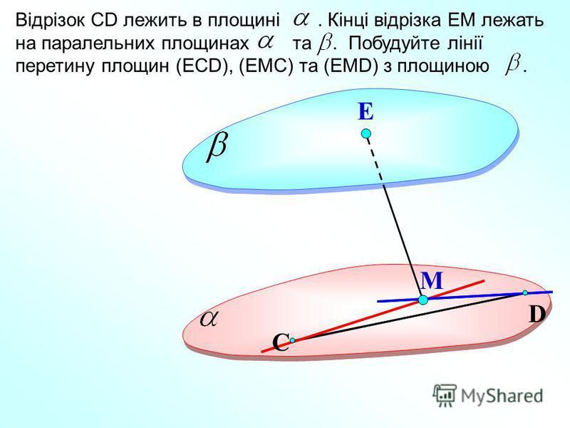D Е Відрізок СD лежить в площині. Кінці відрізка ЕМ лежать на паралельних площинах та. Побудуйте лінії перетину площин (ЕСD), (ЕМС) та (ЕМD) з площиною. М С