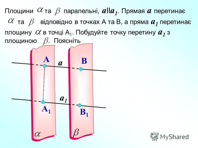 a a1a1 A A1A1 B B1B1 Площини та паралельні, a II a 1. Прямая a перетинає та відповідно в точках А та В, а пряма a 1 перетинає площину в точці А 1. Побудуйте точку перетину a 1 з площиною. Поясніть