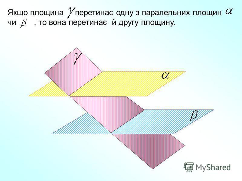 Якщо площина перетинає одну з паралельних площин чи, то вона перетинає й другу площину.
