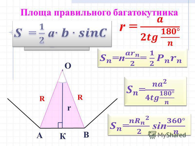 Площа правильного багатокутника R R r А О В К