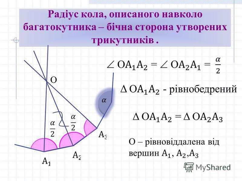 Радіус кола, описаного навколо багатокутника – бічна сторона утворених трикутників. О