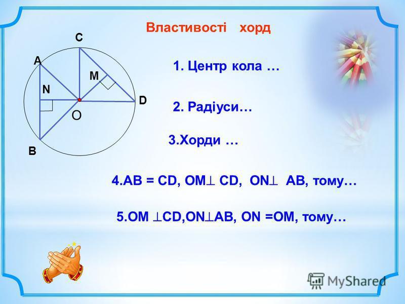 О Властивості хорд В А С D N M 1. Центр кола … 3.Хорди … 2. Радіуси… 5.ОМ CD,ON AB, ON =OM, тому… 4.АВ = CD, OM CD, ON AB, тому…