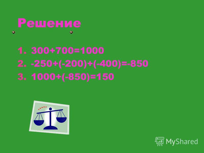 Решение 1.300+700=1000 2.-250+(-200)+(-400)=-850 3.1000+(-850)=150