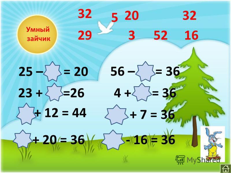 Умный зайчик Х + 12 = 44 23 + Х =26 56 – Х = 36 4 + Х = 36 25 – Х = 20 Х + 7 = 36 Х + 20 = 36Х - 16 = 36 32 5 3 16 20 2952